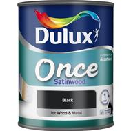 Metal Paint Metal Paint price comparison Dulux Once Satinwood Wood Paint, Metal Paint Black 0.75L