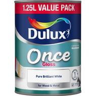 Metal Paint Metal Paint price comparison Dulux Once Gloss Wood Paint, Metal Paint White 1.25L