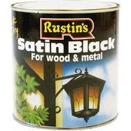 Metal Paint Metal Paint price comparison Rustins Quick Dry Satin Black Wood Paint, Metal Paint Black 1L
