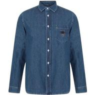 Skjortor Herrkläder Kenzo Denim Tiger Shirt Navy Blue