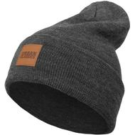 Mössa Herrkläder Urban Classics Leatherpatch Long Beanie - Charcoal