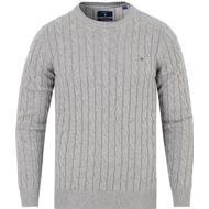 Herrkläder Gant Cotton Cable Crew Sweater - Grey Melange