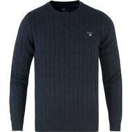 Herrkläder Gant Cotton Cable Crew Sweater - Evening Blue