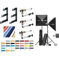 Studiokit til vægophæng inkl. 3 ruller og D-Lite 4 lampesæt