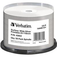 Verbatim CD-R No ID Brand 700MB 52x Spindle 50-Pack Wide Inkjet