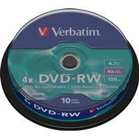 Verbatim DVD-RW 4.7GB 4x Spindle 10-Pack