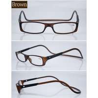 0dd688ec322b Letvægts bærbar magnet læsebrille Model E Farvede Brun sort +2