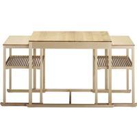 Tre Sekel Möbelsnickeri Släden satsbord 3-del - björk vitpigment hårdvaxolja