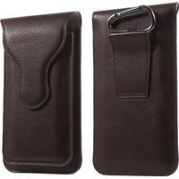 Dobbeltlags læder-etui med karabinhage, Størrelse: 160 x 85mm - Mocca