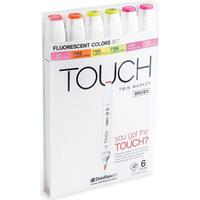 Touch Twin Fluorescent Color Brush Marker 6-pack