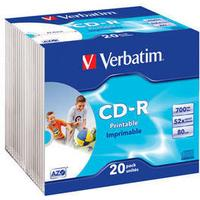 Verbatim CD-R 700MB 52x Slimcase 20-Pack Wide Inkjet