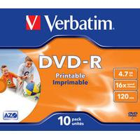 Verbatim DVD-R 4.7GB 16x Jewelcase 10-Pack Wide Inkjet