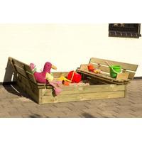 Plus Samlet pakke: Sandkasse m/bænk i fyrretræ inkl. sand