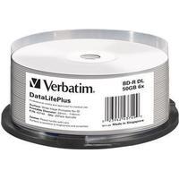 Verbatim BD-R No ID Brand 50GB 6x Spindle 25-Pack Wide Inkjet