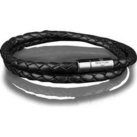 Skultuna Läderarmband Stål Två Rader Large 42cm - Svart