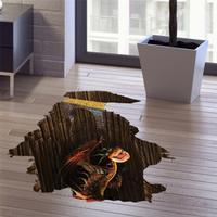 3D Hjemme Dekoration Underjordisk Dinosaur Aftagelig Wallsticker - 60 x 90 cm