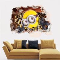 3D Hjemme Dekoration Minions Aftagelig Wallsticker - 60 x 90 cm
