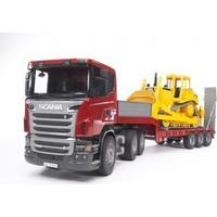 Bruder Scania R-Series Low Loader Truck Cat Bulldozer 03555