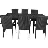 Living Outdoor - Noah Garden Table 205 x 90 cm - 6 x Anna Garden Chair - Black (180484+629103)