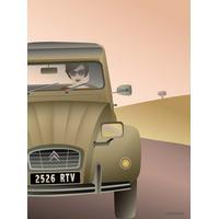 Vissevasse 2CV Citroën 15x21cm Affisch