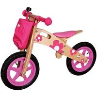 Bino Wooden Balance Bike Pink with Flower