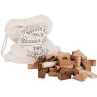 Wooden Story Træklodser I Bomuldpose Natur 100 Stk
