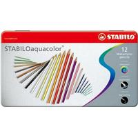 Stabilo Aquacolor 12 Watercolor Pencils Metal Box