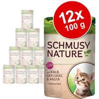 Schmusy Nature in Serving Bag - ChickenSalmon Pasta & Lgær 24x100 g