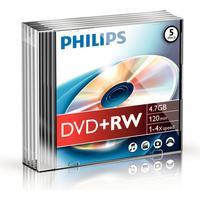 Philips DVD+RW 4.7GB 4x Slimcase 5-Pack