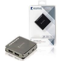 König König USB 2.0-switch med 4-portar (CSU2H4P100BL)