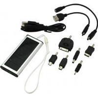 Digibuddy SolarLader / Powerbank Solar/ Ekstern Batteri 5V 1000mAh inklusive 6-teiliges Adapterset