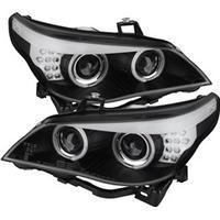 Spyder Auto BMW E60  (D2S HID) 04-07 Strålkastare Projektor - OEM Xenon CCFL Halo - Svarta - Helljus H7 (Inkluderat) - Halvljus D2S (Ej Inkluderat)