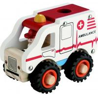 Magni Wooden Ambulance with Rubber Wheels