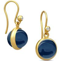 Julie Sandlau Prime Sterling Silver Gold plated Earrings Sapphire Crystal - (HKS181 DG SA CR CZ)