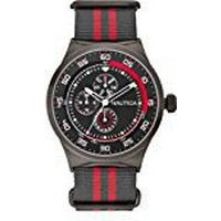 Nautica NST 17 Men's Quartz Watch with Black Dial Chronograph Display and Multi-Colour Nylon Strap A16575G