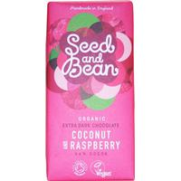 Seed and Bean Organic Coconut & Raspberry Extra Dark Chocolate Bar