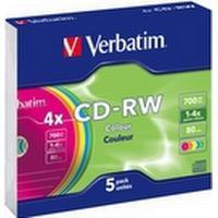 Verbatim CD-RW Colour 700MB 4x Slimcase 5-Pack