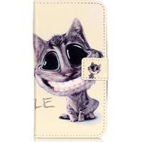 """Plånboksfodral i präglat läder för Galaxy J3 (2016) / J3 - """"Lovely Cat"""""""