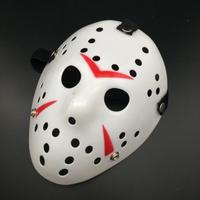 Friday The 13th Jason Mask för Halloween och party - Vit/Röd