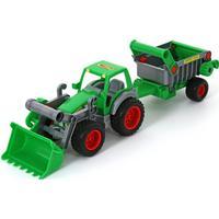 Wader Farmer Technic Traktor med Skopa och Vagn