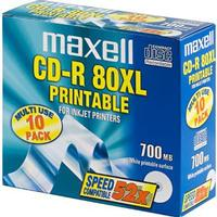 Maxell CD-R 700MB 52x Slimcase 10-Pack Inkjet