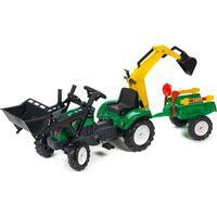 Falk Ranch Trac Green + Loader + Excavator +Trailer + Rake & Shovel