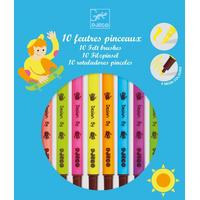 Djeco 10 Felt Brushes Pop Colours