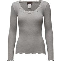 Rosemunde Silk T-Shirt Regular LS W/Rev Vinta - Light Grey Melange (5369)
