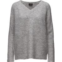 Vila Viplace V-Neck Knit Top-Noos - Light Grey Melange (14037055)