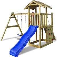 vidaXL Wooden Playset with Ladder Slide & Swings