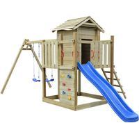 vidaXL Wooden Playset with Ladder Slide & Swings