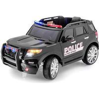 Børne el bil Azeno SUV Police, rigtige gummihjul. 12V med fjernbetjening til styring.