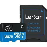 Lexar Minneskort Secure Digital Micro 128GB SDXC 633x 95 mb/s UHS-1 C10 + SD-adapter