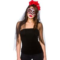 Wicked Costumes Ltd Day of the Dead Deluxe Mask med Slöja  - One size